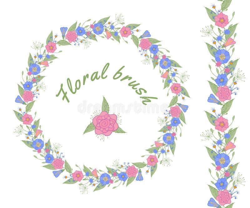 Blom- borste för vektor och blom- girland royaltyfri illustrationer