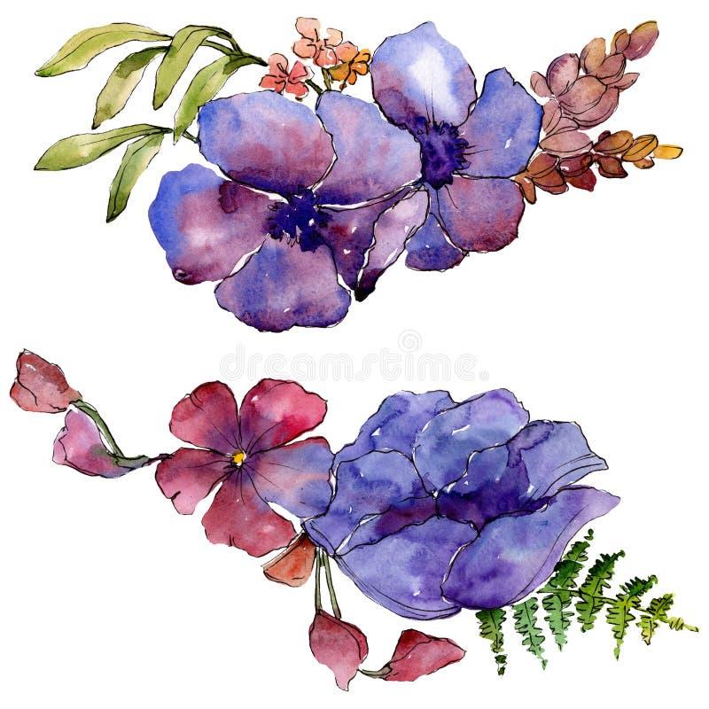 Blom- botaniska blommor för blå purpurfärgad bukett set vattenfärg för bakgrundsgrunddesign Isolerad bukettillustrationbeståndsde stock illustrationer