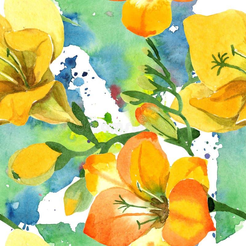 Blom- botaniska blommor för gul freesia För ackgroundillustration för vattenfärg b uppsättning Seamless bakgrund m?nstrar arkivfoto