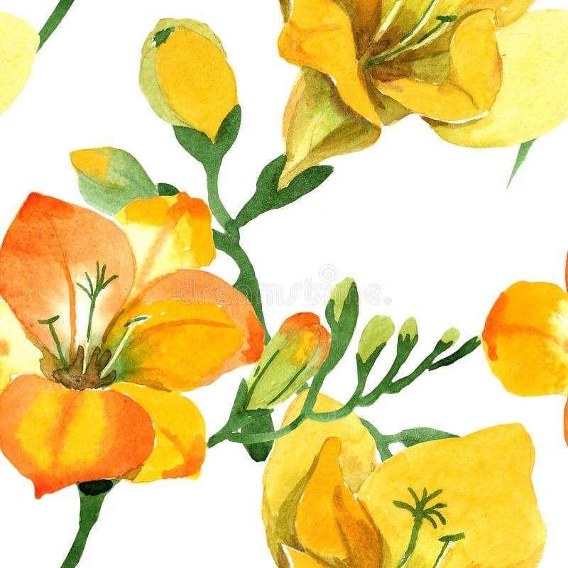 Blom- botaniska blommor för gul freesia För ackgroundillustration för vattenfärg b uppsättning Seamless bakgrund m?nstrar arkivbild