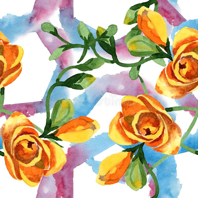 Blom- botaniska blommor för gul freesia För ackgroundillustration för vattenfärg b uppsättning Seamless bakgrund m?nstrar arkivbilder