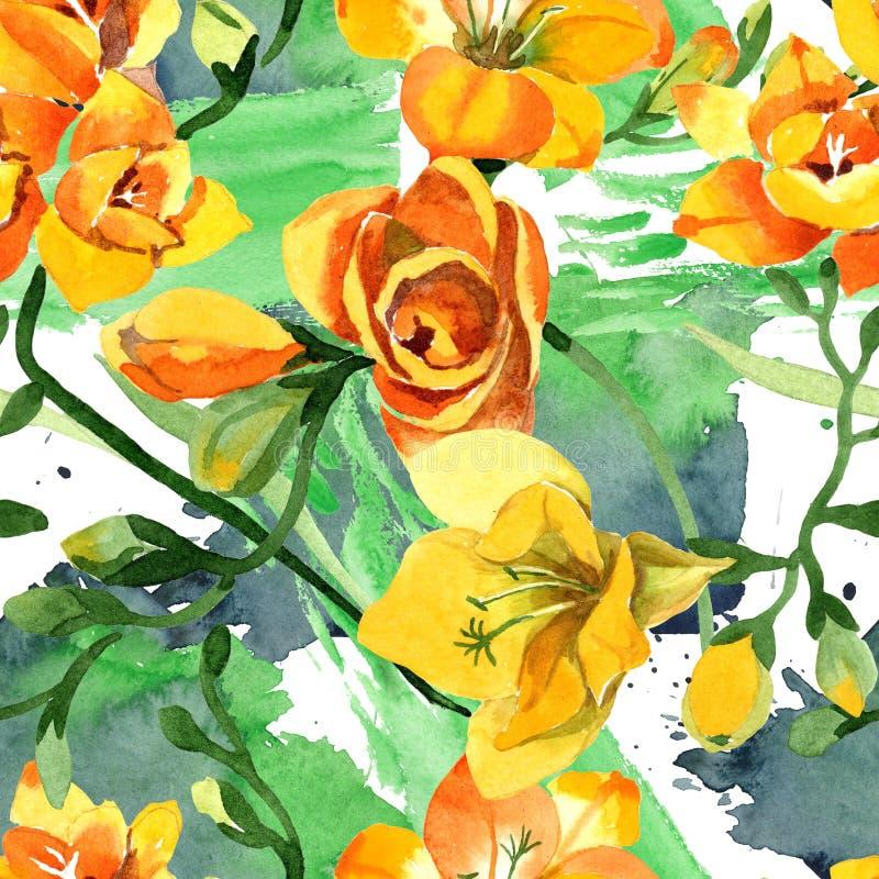 Blom- botaniska blommor för gul freesia För ackgroundillustration för vattenfärg b uppsättning Seamless bakgrund m?nstrar fotografering för bildbyråer