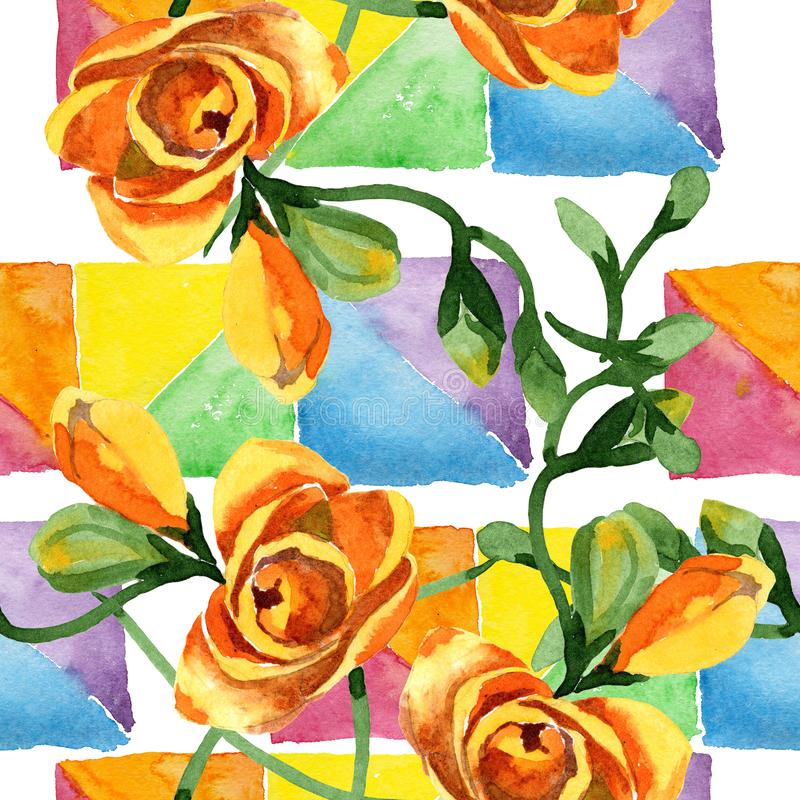 Blom- botaniska blommor för gul freesia För ackgroundillustration för vattenfärg b uppsättning Seamless bakgrund m?nstrar royaltyfria bilder