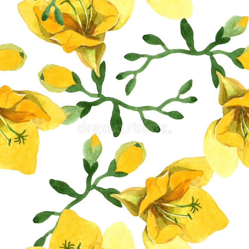 Blom- botaniska blommor för gul freesia För ackgroundillustration för vattenfärg b uppsättning Seamless bakgrund m?nstrar royaltyfria foton