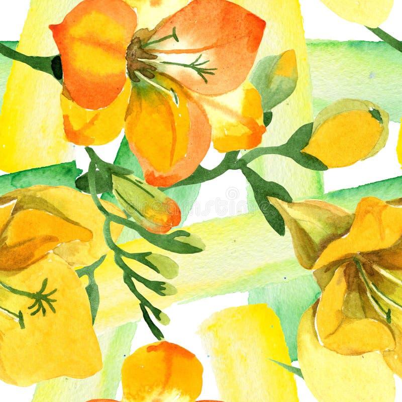 Blom- botaniska blommor för gul freesia För ackgroundillustration för vattenfärg b uppsättning Seamless bakgrund m?nstrar royaltyfri fotografi