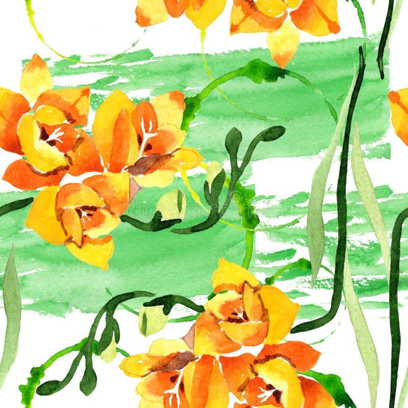 Blom- botaniska blommor för gul freesia För ackgroundillustration för vattenfärg b uppsättning Seamless bakgrund m?nstrar arkivfoton