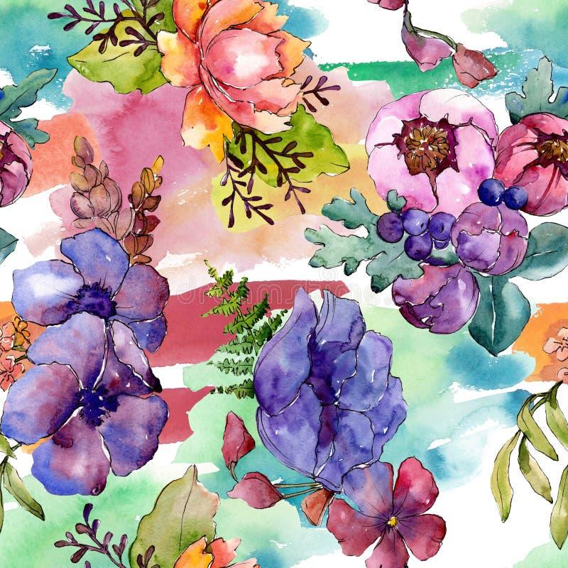 Blom- botaniska blommor f?r bl? purpurf?rgad bukett Upps?ttning f?r vattenf?rgbakgrundsillustration Seamless bakgrund m?nstrar royaltyfri bild