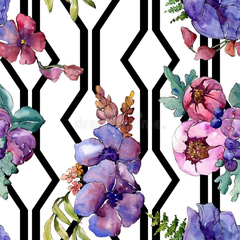 Blom- botaniska blommor f?r bl? purpurf?rgad bukett Upps?ttning f?r vattenf?rgbakgrundsillustration Seamless bakgrund m?nstrar royaltyfria bilder