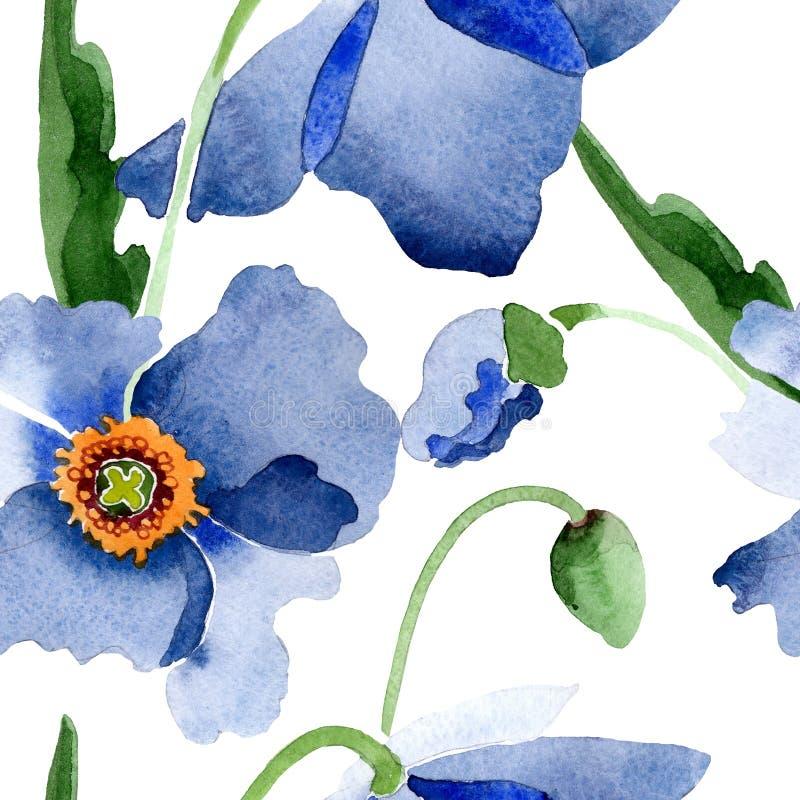 Blom- botaniska blommor f?r bl? vallmo Upps?ttning f?r vattenf?rgbakgrundsillustration Seamless bakgrund m?nstrar royaltyfri illustrationer