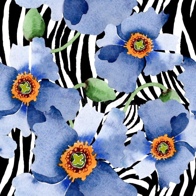 Blom- botaniska blommor f?r bl? vallmo Upps?ttning f?r vattenf?rgbakgrundsillustration Seamless bakgrund m?nstrar stock illustrationer