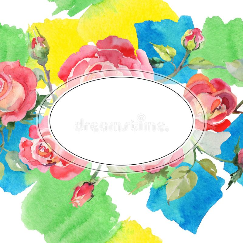 Blom- botaniska blommor f?r r?d rosa bukett Upps?ttning f?r vattenf?rgbakgrundsillustration Fyrkant f?r ramgr?nsprydnad royaltyfri bild