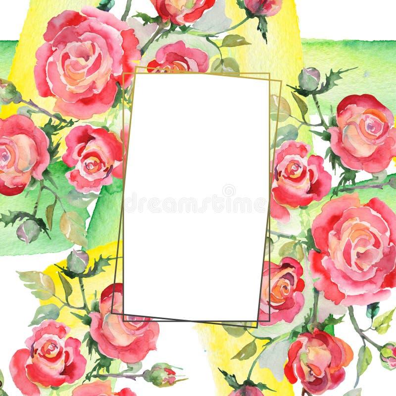 Blom- botaniska blommor f?r r?d rosa bukett Upps?ttning f?r vattenf?rgbakgrundsillustration Fyrkant f?r ramgr?nsprydnad arkivbild