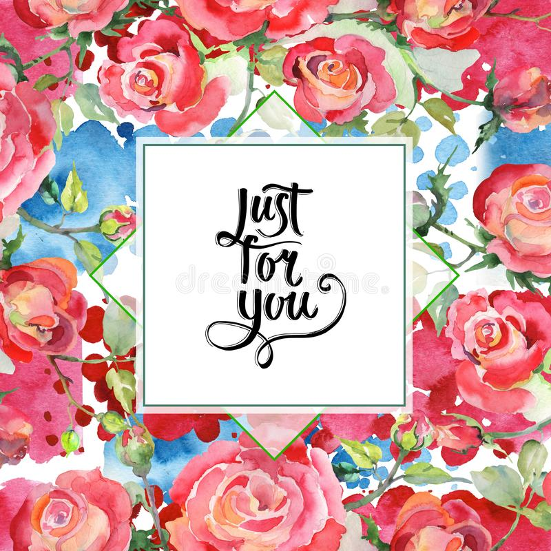 Blom- botaniska blommor f?r r?d rosa bukett Upps?ttning f?r vattenf?rgbakgrundsillustration Fyrkant f?r ramgr?nsprydnad stock illustrationer