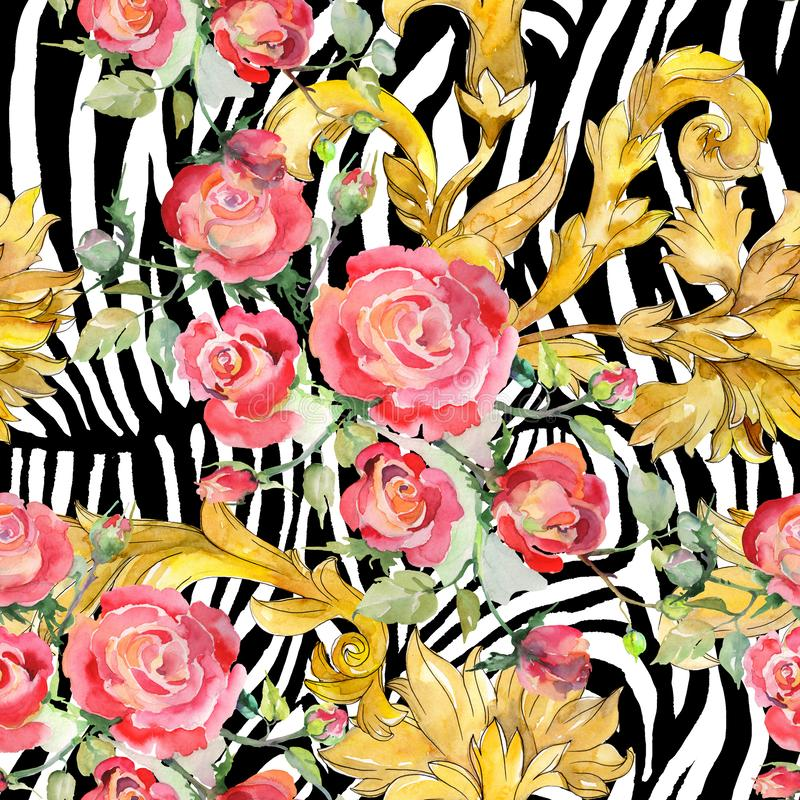 Blom- botaniska blommor f?r r?d rosa bukett Upps?ttning f?r vattenf?rgbakgrundsillustration Seamless bakgrund m?nstrar royaltyfria foton