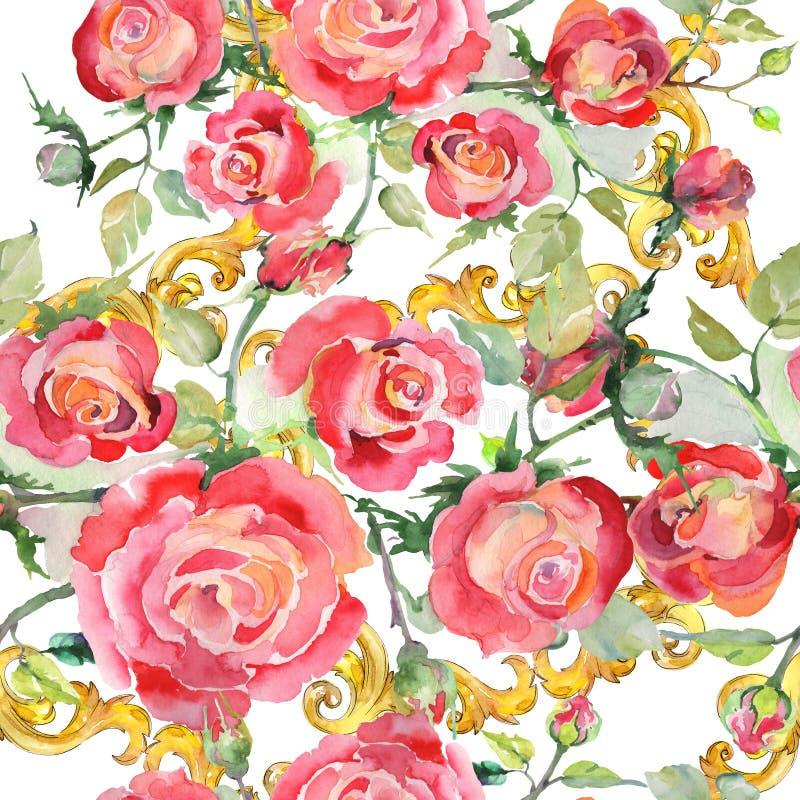Blom- botaniska blommor f?r r?d rosa bukett Upps?ttning f?r vattenf?rgbakgrundsillustration Seamless bakgrund m?nstrar royaltyfri illustrationer