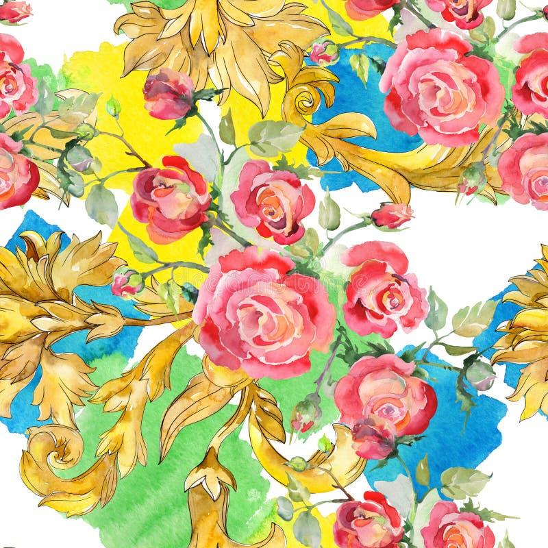 Blom- botaniska blommor f?r r?d rosa bukett Upps?ttning f?r vattenf?rgbakgrundsillustration Seamless bakgrund m?nstrar arkivfoto