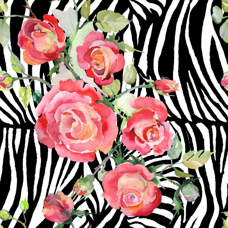 Blom- botaniska blommor f?r r?d rosa bukett Upps?ttning f?r vattenf?rgbakgrundsillustration Seamless bakgrund m?nstrar royaltyfri foto