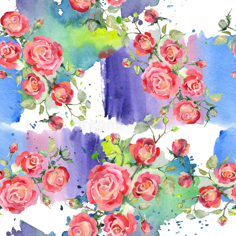 Blom- botaniska blommor f?r r?d rosa bukett Upps?ttning f?r vattenf?rgbakgrundsillustration Seamless bakgrund m?nstrar fotografering för bildbyråer