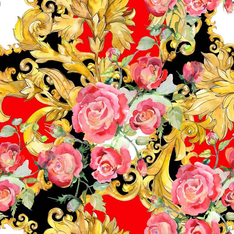 Blom- botaniska blommor f?r r?d rosa bukett Upps?ttning f?r vattenf?rgbakgrundsillustration Seamless bakgrund m?nstrar stock illustrationer