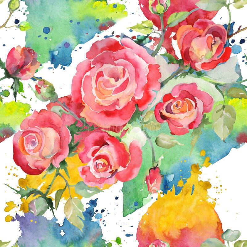 Blom- botaniska blommor f?r r?d rosa bukett Upps?ttning f?r vattenf?rgbakgrundsillustration Seamless bakgrund m?nstrar vektor illustrationer
