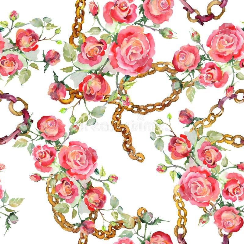 Blom- botaniska blommor f?r r?d rosa bukett Upps?ttning f?r vattenf?rgbakgrundsillustration Seamless bakgrund m?nstrar arkivfoton