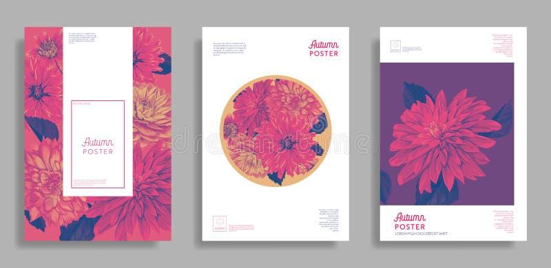 Blom- bröllopdesign Uppsättning för blommaorienteringsbakgrund för affischen, broschyr, inbjudan, hälsningkort, rengöringsdukbane stock illustrationer