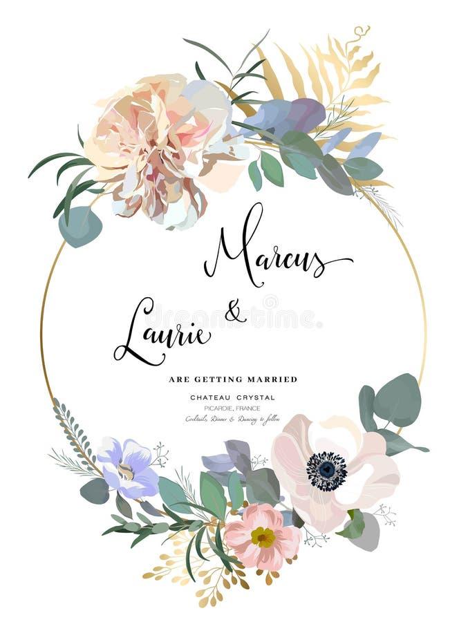 Blom- bröllopinbjudan Elegant rosa trädgårdros, pion, anemon, eukalyptusfilialer, sidor kantlagrar låter vara vektorn för oakband stock illustrationer