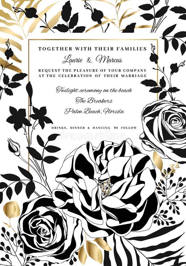 Blom- bröllopinbjudan för vektor Svartvita rosor och pioner stock illustrationer