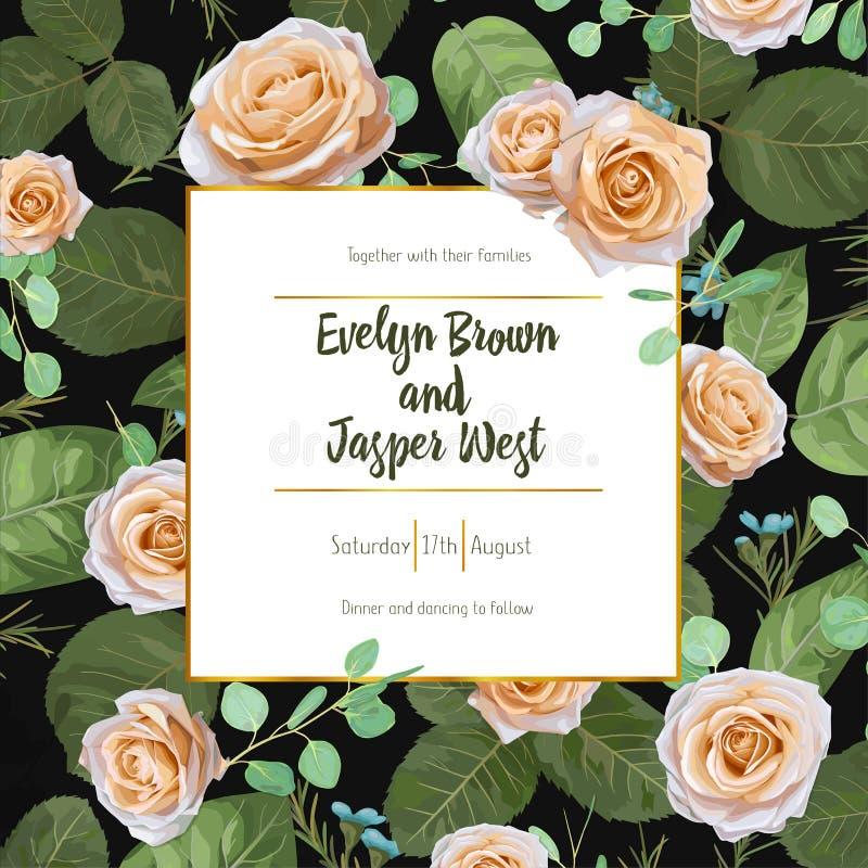 Blom- bröllopinbjudan, hälsningkort, räddningdatum, romantiker gr stock illustrationer