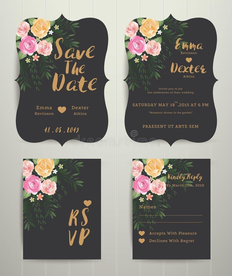 Blom- bröllopinbjudanräddning datumkortet med rsvpuppsättningen royaltyfri illustrationer