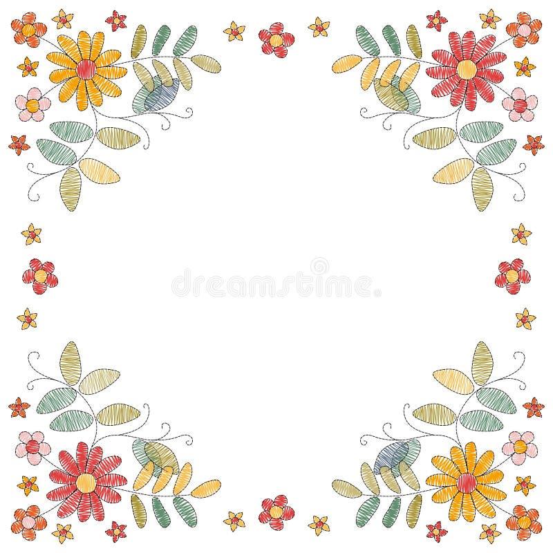 Blom- broderiram med härliga blommor vektor för inbjudan för korthälsningsillustration vektor illustrationer