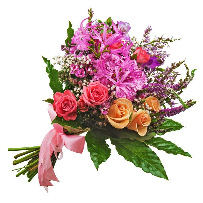 Blom- bukett av rosor, liljor och orkidér som isoleras på vita lodisar royaltyfria bilder