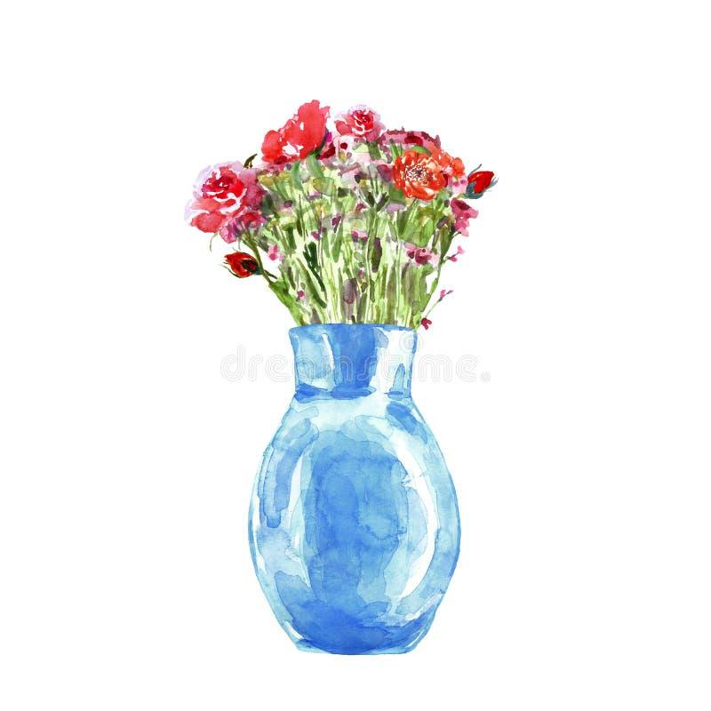 Blom- bukett för vattenfärg med röda blommor i blå vas Hand målad botanisk illustration vektor illustrationer
