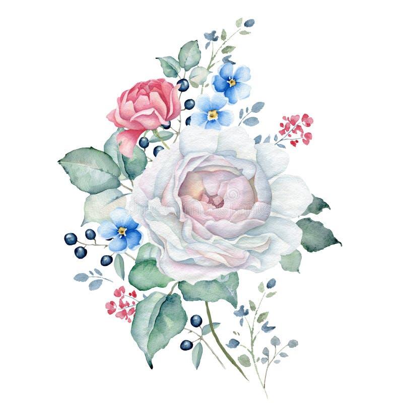 Blom- bukett för vattenfärg med vita och rosa rosor, förgätmigejblommor royaltyfri illustrationer