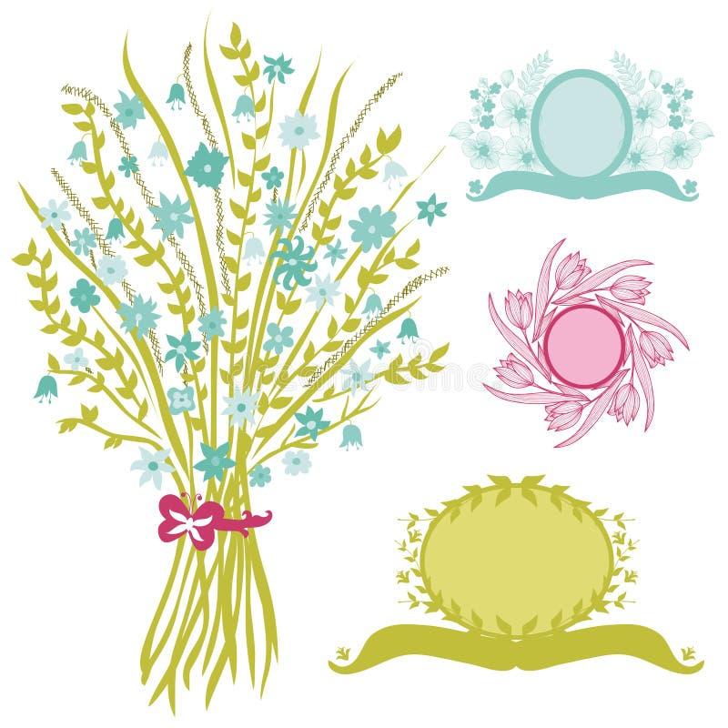 Blom- bukett med baner stock illustrationer