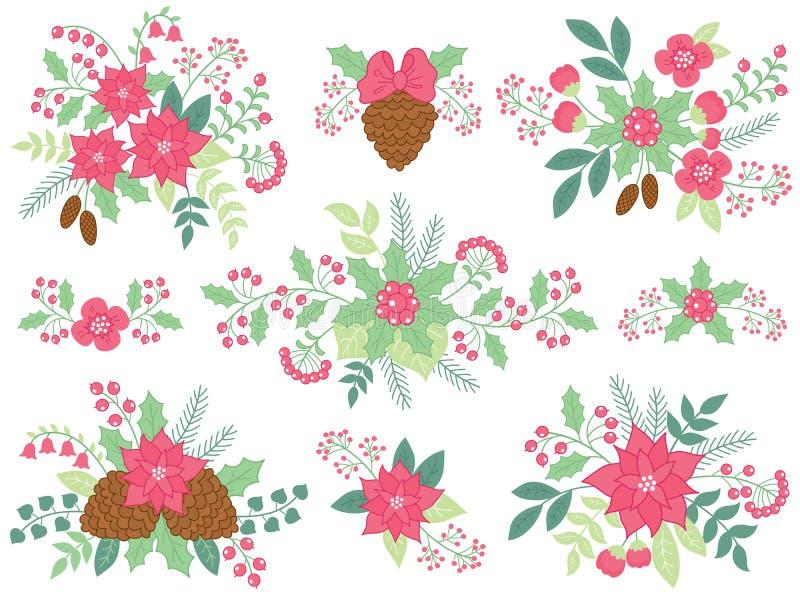 Blom- buketter för vektorjul med julstjärnan, kottar och och bär vektor illustrationer