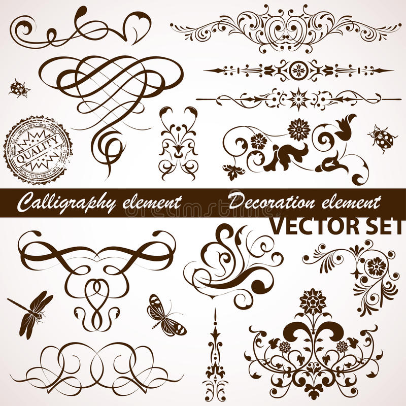 blom- calligraphic element vektor illustrationer