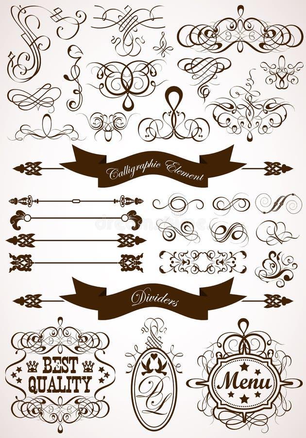 blom- calligraphic element royaltyfri illustrationer