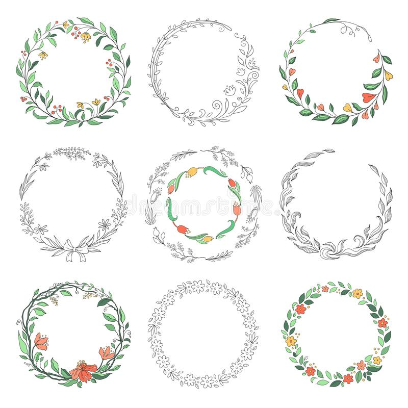 Blom- cirkelklotterramar Utdragna linjära runda gränser för hand, beståndsdelar för blomsterhandlaretappningdesign Vektorklotterc stock illustrationer