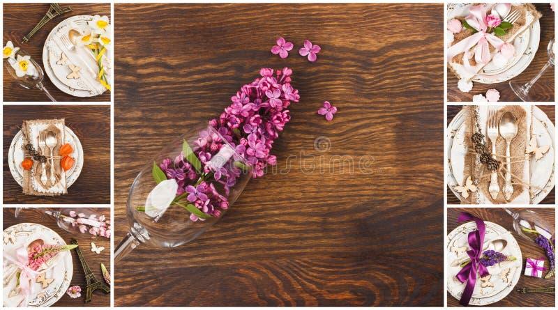 Blom- collage: Bordsservis och bestick med olika sommarblommor royaltyfri foto