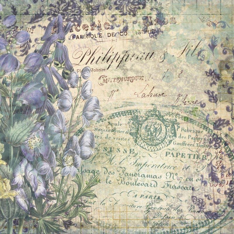 Blom- collageillustration för tappning - antik stilcollage Art Print - blom- tappningfaktura - blått - och diagram vektor illustrationer