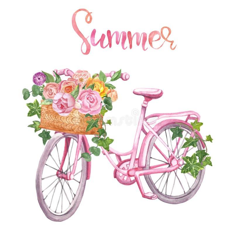 Blom- cykel för vattenfärg som isoleras Romantisk rosa cykel, korg och blommor på vit bakgrund Bröllopdesign, kort royaltyfri fotografi