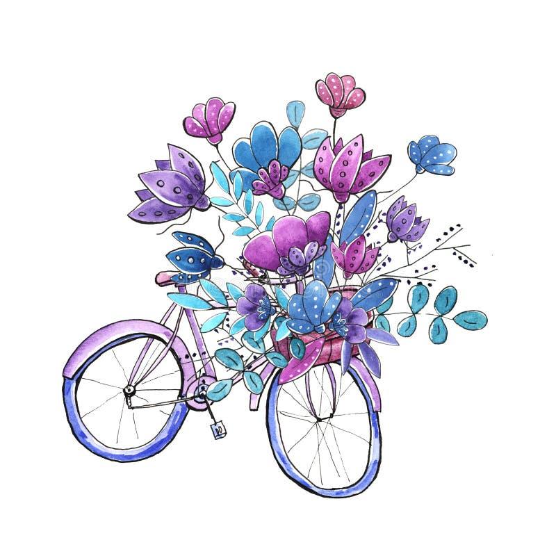 Blom- cykel f?r vattenf?rg fotografering för bildbyråer