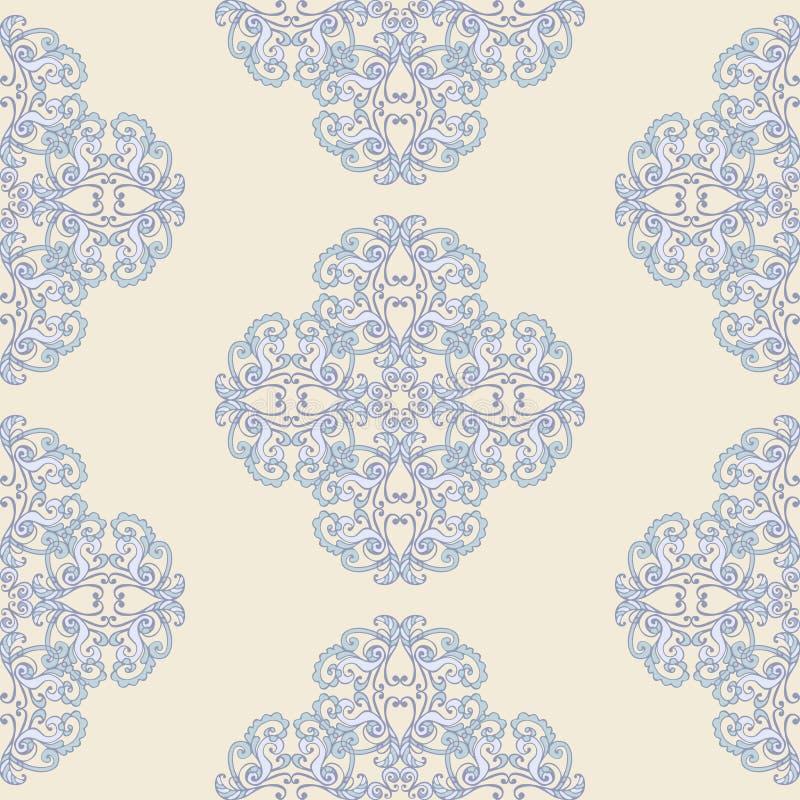 Blom- damast sömlös modell Färgad barock tapet för tappning sömlösa blått stock illustrationer