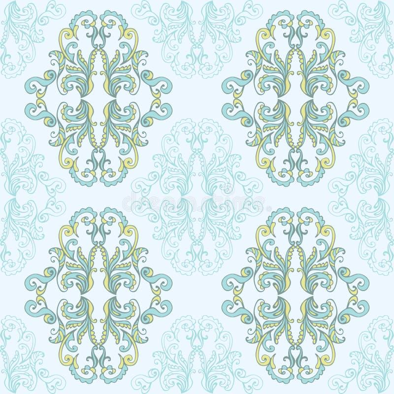 Blom- damast sömlöst snör åt modellen Sömlös barock tapet för tappning vektor illustrationer