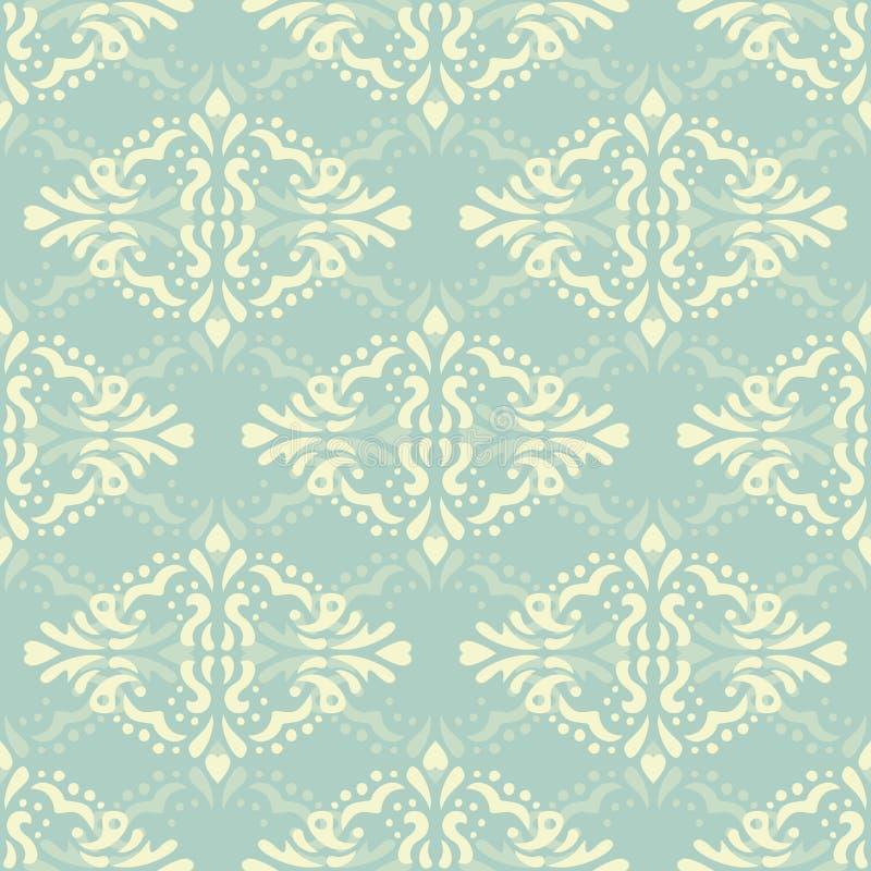 Blom- damast sömlöst snör åt modellen Sömlös barock tapet för tappning stock illustrationer