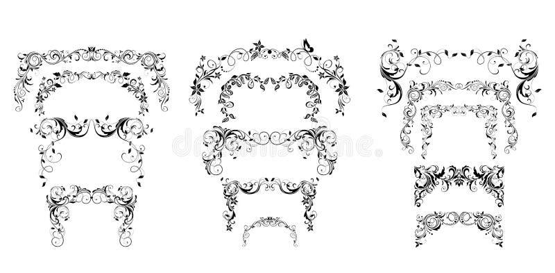 Blom- dekorativ båge för tappning, titelrader och karaktärsteckningsamling Svartvit design för bröllopceremoni, årsdagcelebrat royaltyfri illustrationer