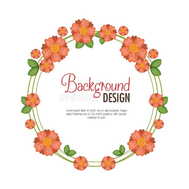 Blom- dekorativ bakgrund för krans stock illustrationer