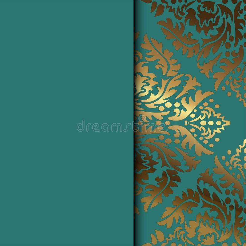 Blom- dekorativ bakgrund f?r vektortappning f?r designinbjudankortet, h?fte, tryck Guld och gr?splan stock illustrationer
