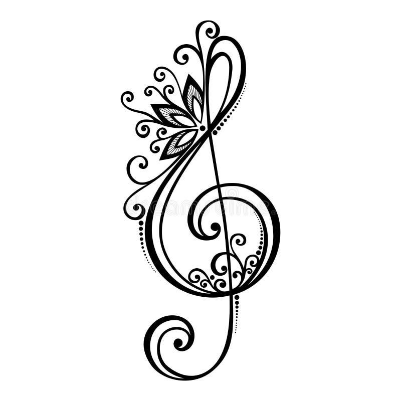Blom- dekorativ G-klav för vektor stock illustrationer